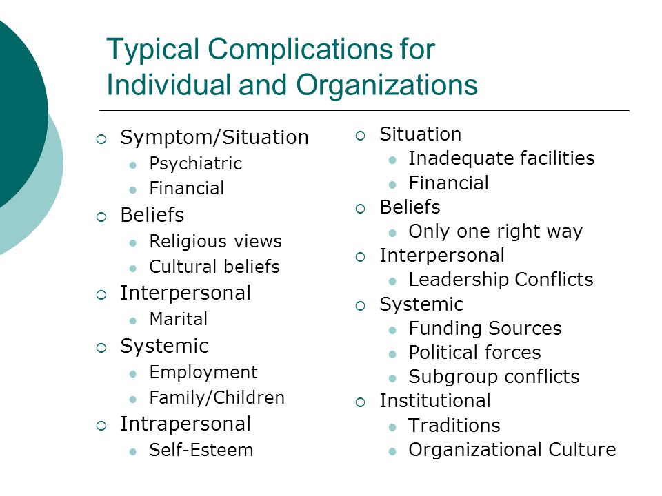 Typical Complications for Individual and Organizations  Symptom/Situation Psychiatric Financial  Beliefs Religious views Cultural beliefs  Interper