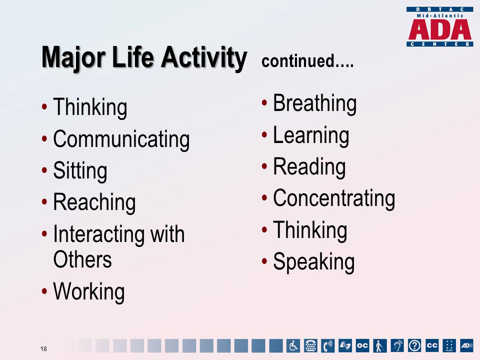 Thinking Communicating Sitting Reaching Interacting with Others Working Breathing Learning Reading Concentrating Thinking Speaking Major Life Activit Major Life Activity continued….