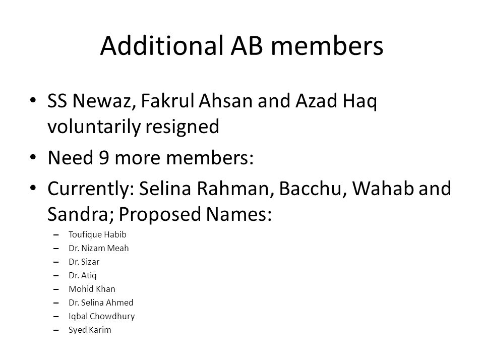 Additional AB members SS Newaz, Fakrul Ahsan and Azad Haq voluntarily resigned Need 9 more members: Currently: Selina Rahman, Bacchu, Wahab and Sandra; Proposed Names: – Toufique Habib – Dr.