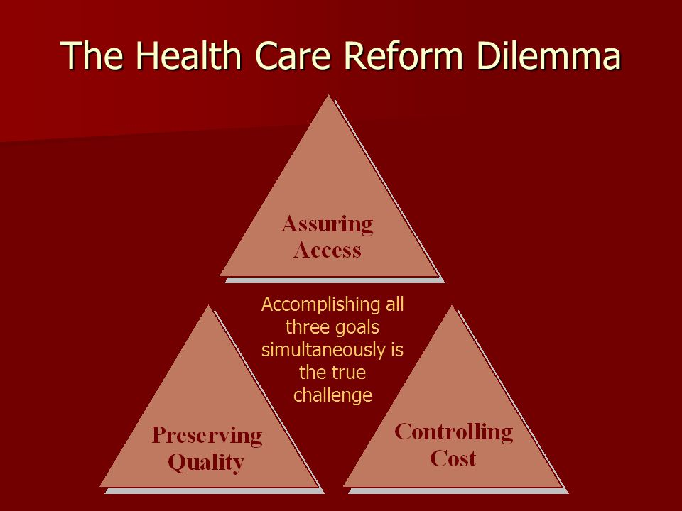 The Health Care Reform Dilemma Accomplishing all three goals simultaneously is the true challenge