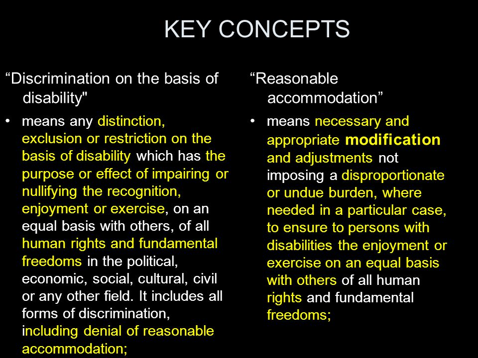 "KEY CONCEPTS ""Discrimination on the basis of disability"