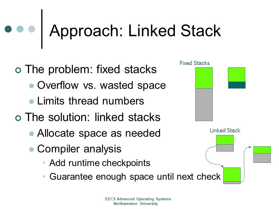 Approach: Linked Stack The problem: fixed stacks Overflow vs.
