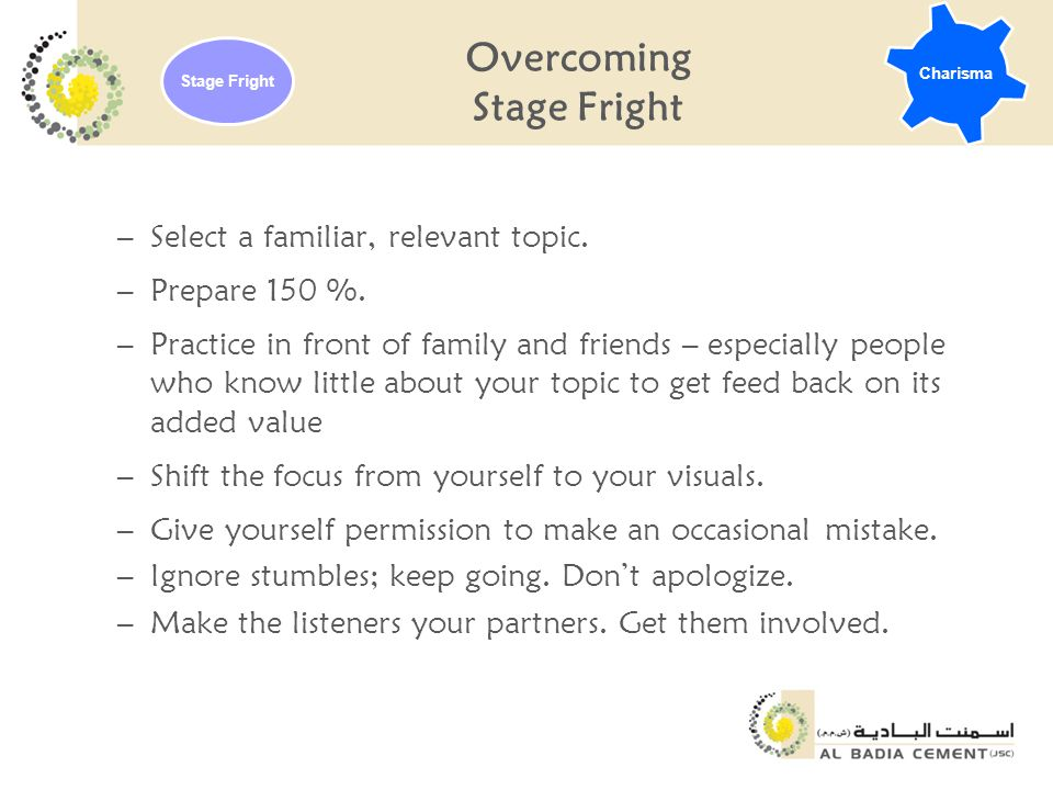 Overcoming Stage Fright –Select a familiar, relevant topic.