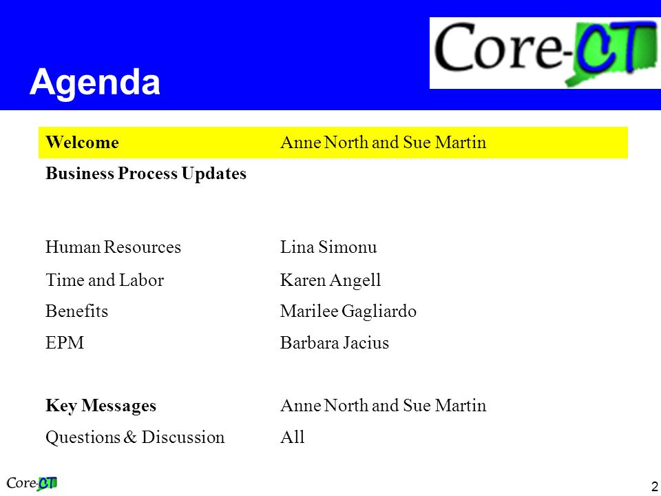 2 Agenda WelcomeAnne North and Sue Martin Business Process Updates Human ResourcesLina Simonu Time and LaborKaren Angell BenefitsMarilee Gagliardo EPMBarbara Jacius Key MessagesAnne North and Sue Martin Questions & DiscussionAll