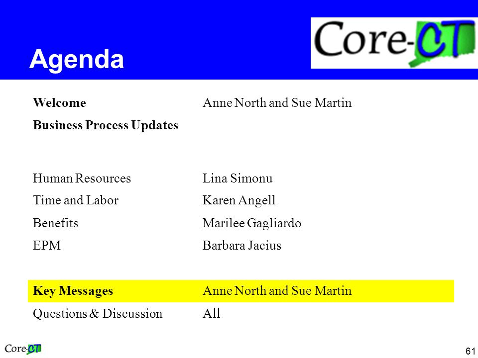 61 Agenda WelcomeAnne North and Sue Martin Business Process Updates Human ResourcesLina Simonu Time and LaborKaren Angell BenefitsMarilee Gagliardo EPMBarbara Jacius Key MessagesAnne North and Sue Martin Questions & DiscussionAll