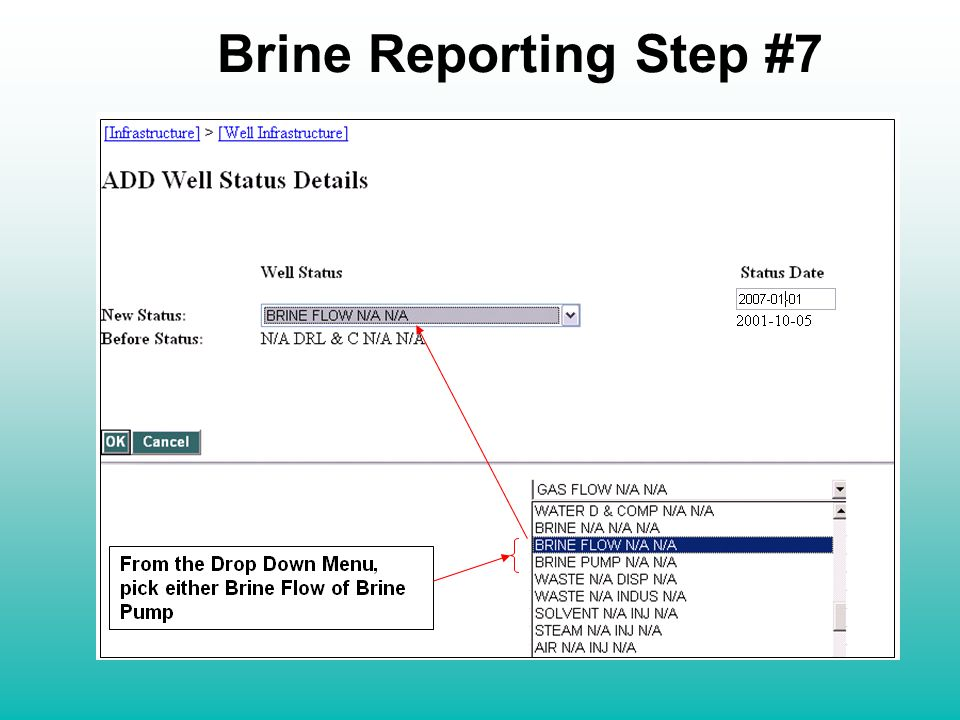 Brine Reporting Step #7 From the Drop Down Menu, pick either Brine Flow of Brine Pump