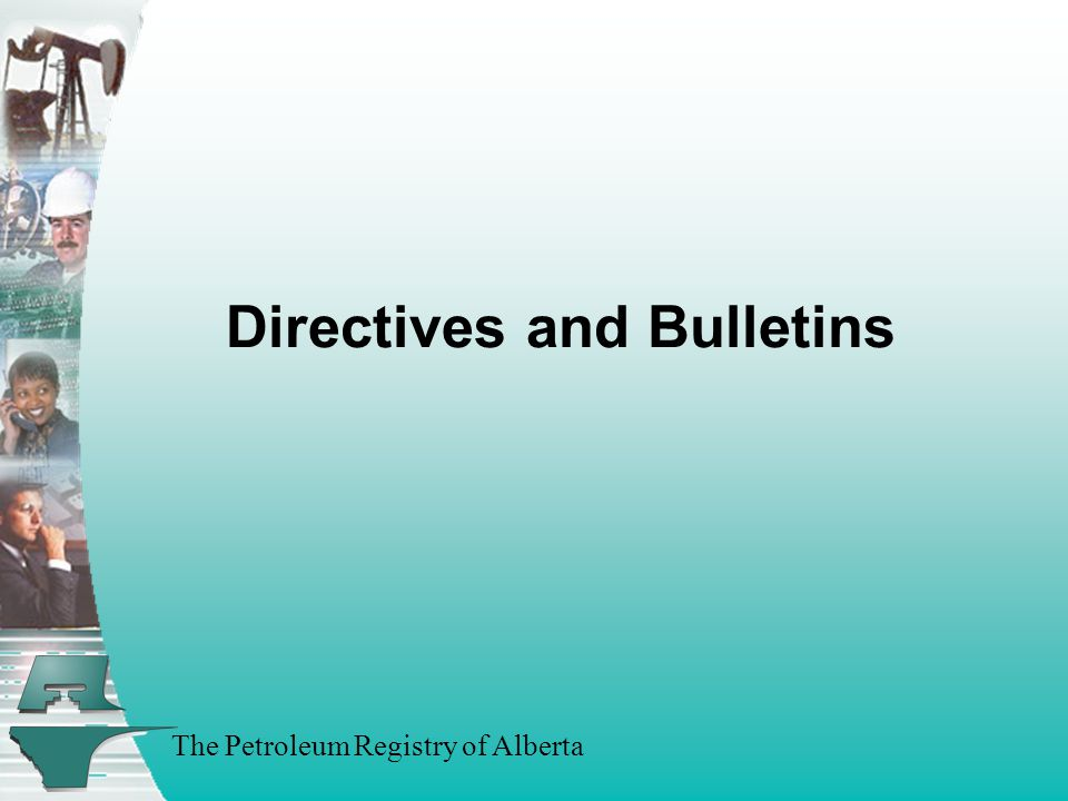 The Petroleum Registry of Alberta Directives and Bulletins