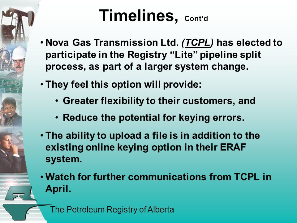 The Petroleum Registry of Alberta Timelines, Cont'd Nova Gas Transmission Ltd.