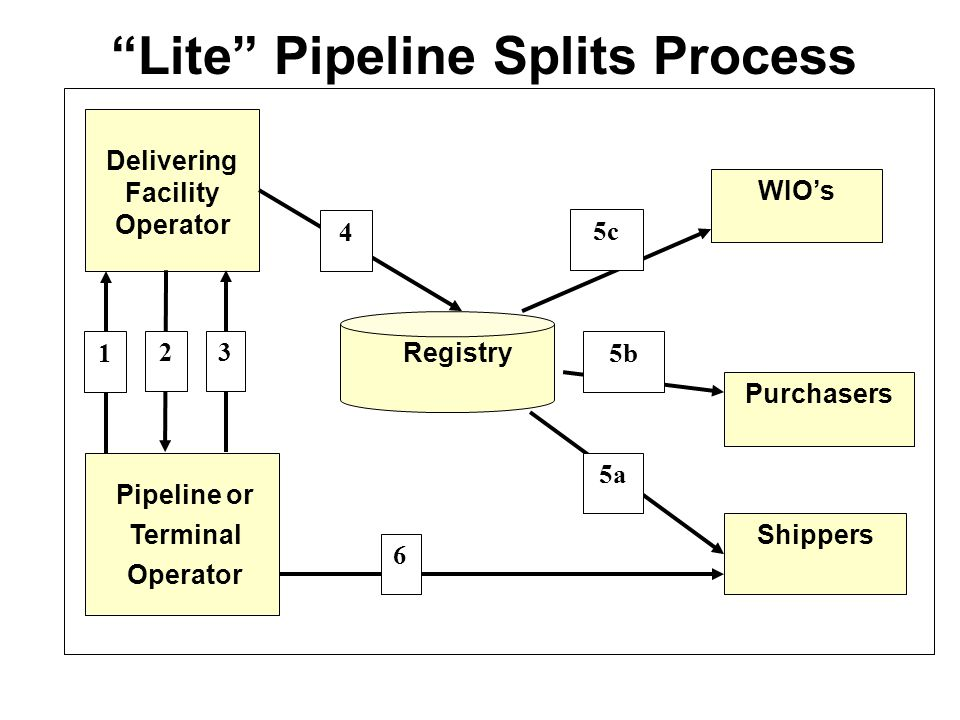 Lite Pipeline Splits Process Pipeline or Terminal Operator Delivering Facility Operator WIO's Purchasers Shippers Registry 1 4 2 5c 3 6 5b 5a