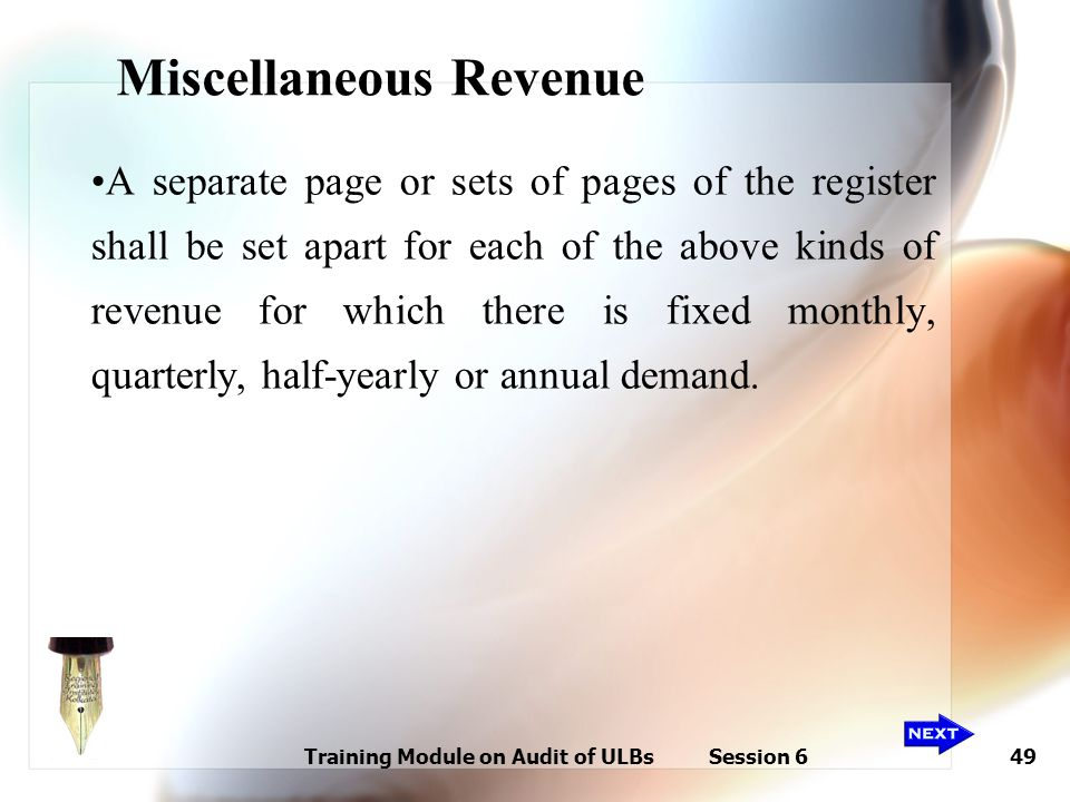 Training Module on Audit of ULBs Session 649 Miscellaneous Revenue A separate page or sets of pages of the register shall be set apart for each of the