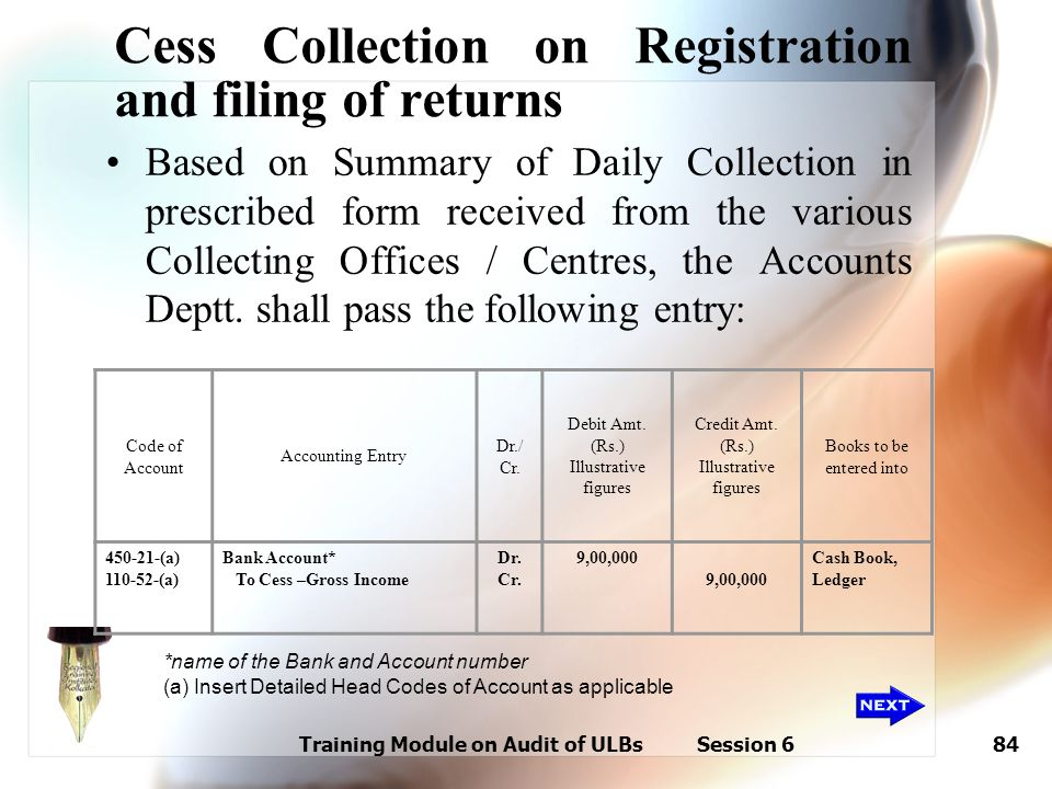 Training Module on Audit of ULBs Session 684 Cess Collection on Registration and filing of returns Based on Summary of Daily Collection in prescribed