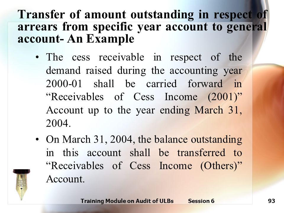 Training Module on Audit of ULBs Session 693 The cess receivable in respect of the demand raised during the accounting year 2000-01 shall be carried f