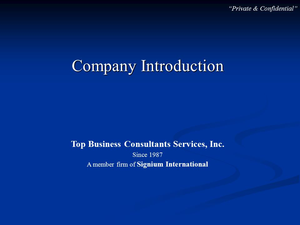 Company Introduction Top Business Consultants Services, Inc.