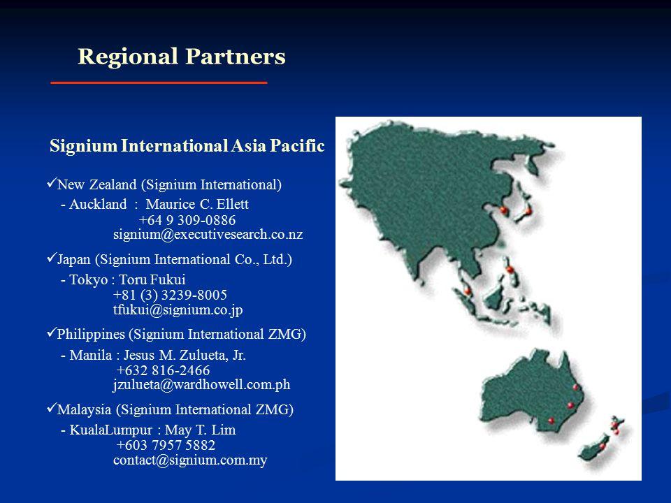 Regional Partners Signium International Asia Pacific New Zealand (Signium International) - Auckland : Maurice C.