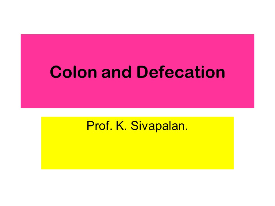 Colon and Defecation Prof. K. Sivapalan.