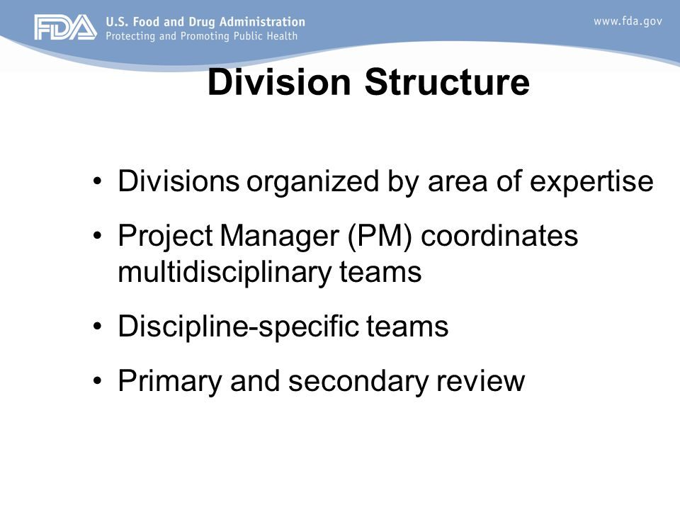 Division Structure Divisions organized by area of expertise Project Manager (PM) coordinates multidisciplinary teams Discipline-specific teams Primary