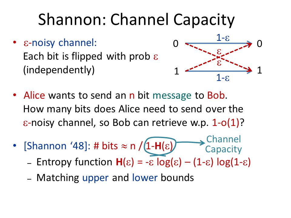  -noisy channel: Each bit is flipped with prob  (independently) Alice wants to send an n bit message to Bob.