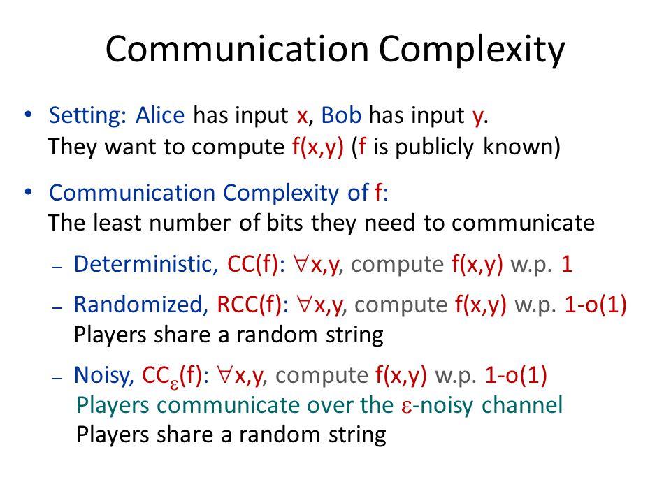 Communication Complexity Setting: Alice has input x, Bob has input y.