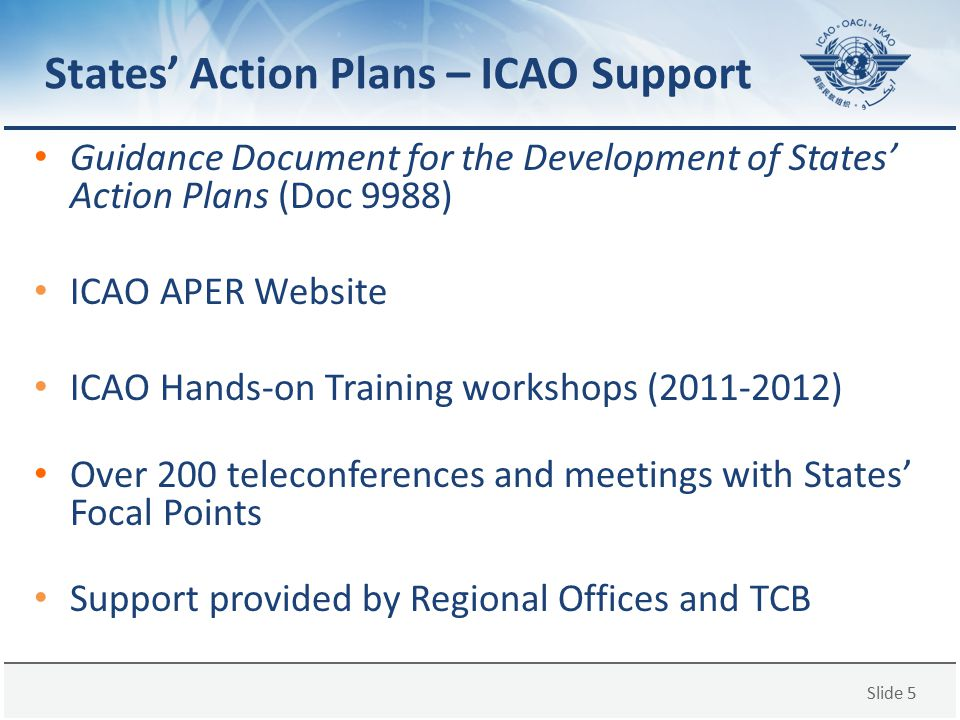 Slide 5 States' Action Plans – ICAO Support Guidance Document for the Development of States' Action Plans (Doc 9988) ICAO APER Website ICAO Hands-on T