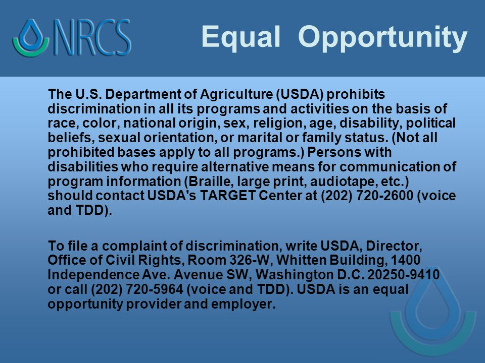 Equal Opportunity The U.S.