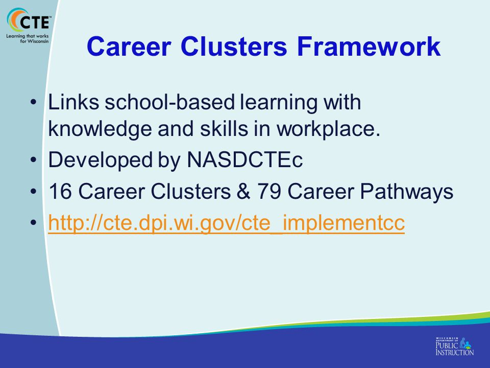 Career Clusters Framework Links school-based learning with knowledge and skills in workplace.