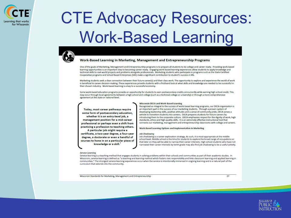 CTE Advocacy Resources: Work-Based Learning