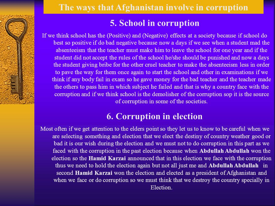The ways that Afghanistan involve in corruption 5.