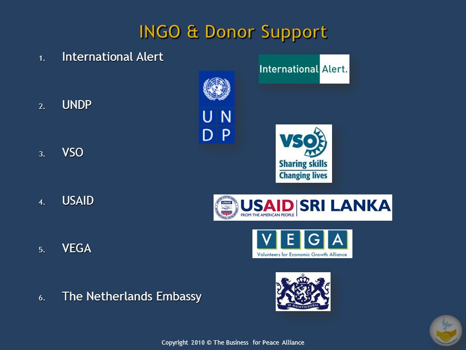 1. International Alert 2. UNDP 3. VSO 4. USAID 5.
