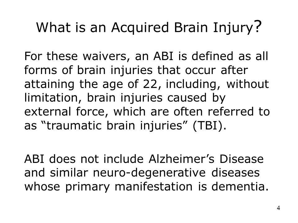 What is an Acquired Brain Injury .