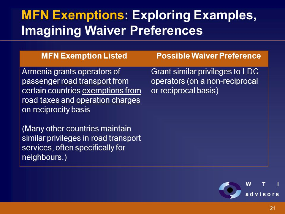 W T I a d v i s o r s 21 MFN Exemptions: Exploring Examples, Imagining Waiver Preferences MFN Exemption ListedPossible Waiver Preference Armenia grant