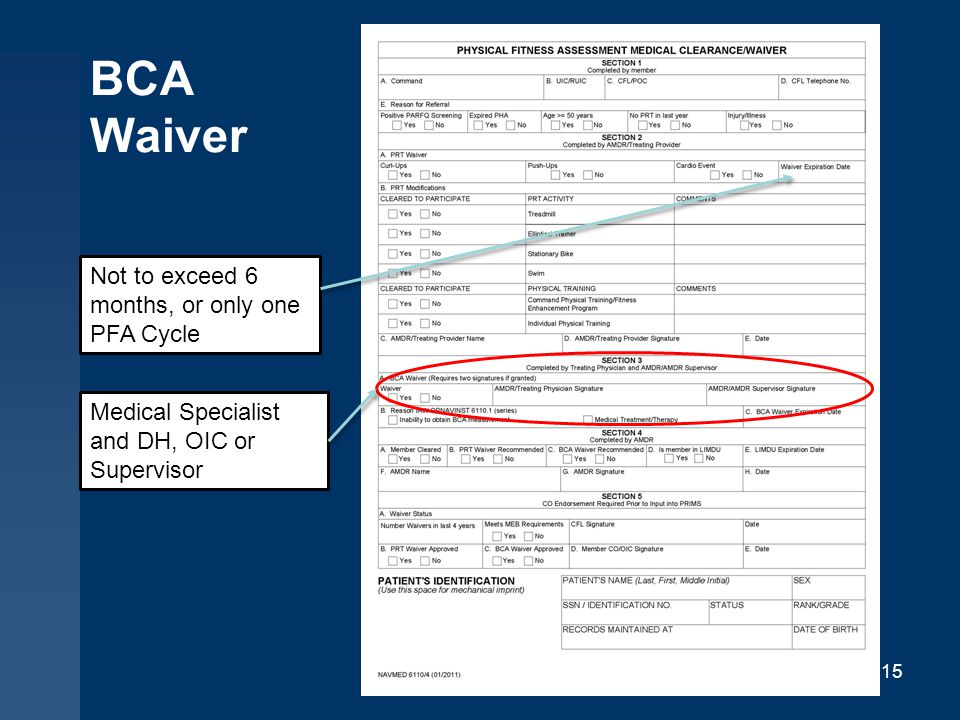 BCA Waiver 15 Not to exceed 6 months, or only one PFA Cycle Medical Specialist and DH, OIC or Supervisor
