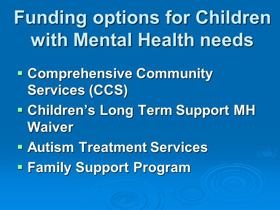  Comprehensive Community Services (CCS)  Children's Long Term Support MH Waiver  Autism Treatment Services  Family Support Program