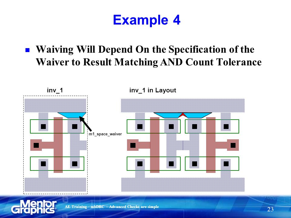 AE Training – mbDRC – Advanced Checks are simple 23 Example 4 inv_1inv_1 in Layout m1_space_waiver n Waiving Will Depend On the Specification of the W
