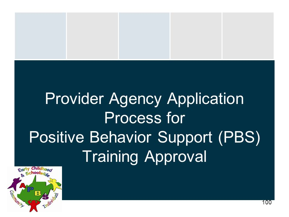 100 Provider Agency Application Process for Positive Behavior Support (PBS) Training Approval