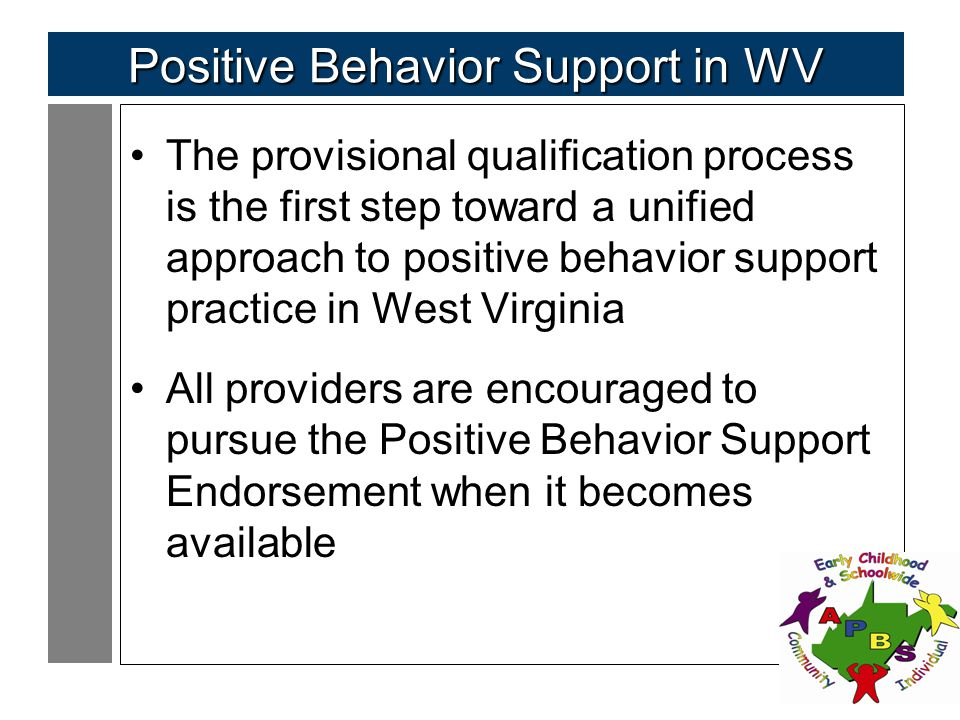 105 Positive Behavior Support in WV The provisional qualification process is the first step toward a unified approach to positive behavior support practice in West Virginia All providers are encouraged to pursue the Positive Behavior Support Endorsement when it becomes available
