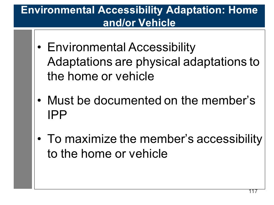 117 Environmental Accessibility Adaptation: Home and/or Vehicle Environmental Accessibility Adaptations are physical adaptations to the home or vehicle Must be documented on the member's IPP To maximize the member's accessibility to the home or vehicle