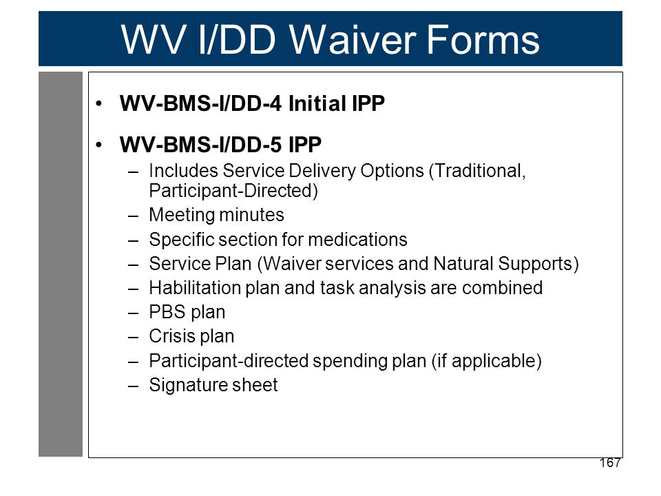 167 WV I/DD Waiver Forms WV-BMS-I/DD-4 Initial IPP WV-BMS-I/DD-5 IPP –Includes Service Delivery Options (Traditional, Participant-Directed) –Meeting minutes –Specific section for medications –Service Plan (Waiver services and Natural Supports) –Habilitation plan and task analysis are combined –PBS plan –Crisis plan –Participant-directed spending plan (if applicable) –Signature sheet