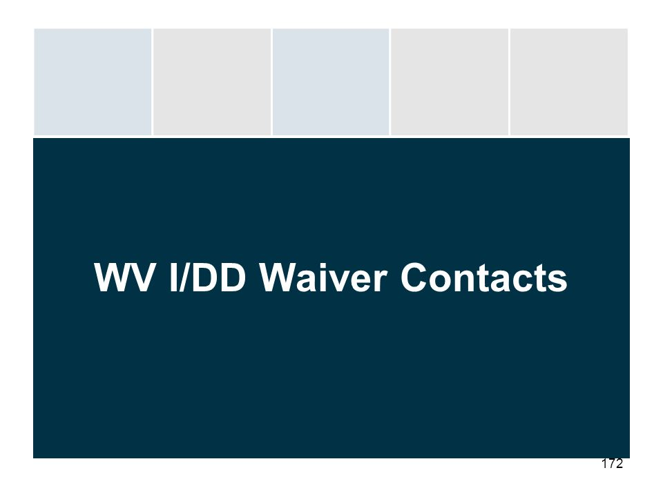 172 WV I/DD Waiver Contacts