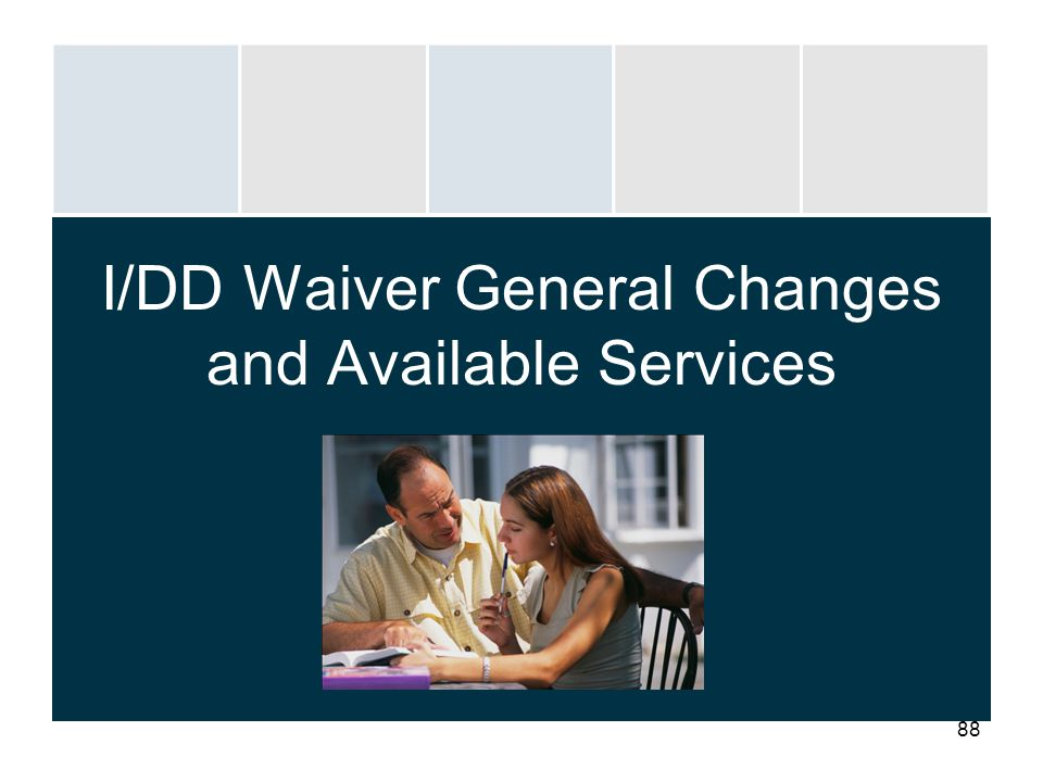 88 I/DD Waiver General Changes and Available Services
