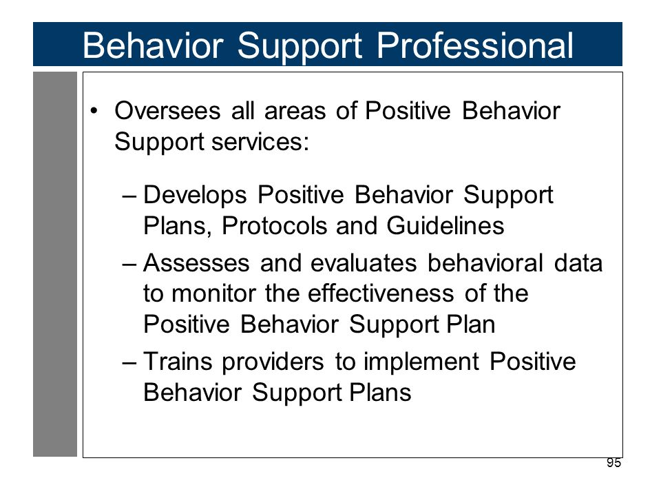 95 Behavior Support Professional Oversees all areas of Positive Behavior Support services: –Develops Positive Behavior Support Plans, Protocols and Guidelines –Assesses and evaluates behavioral data to monitor the effectiveness of the Positive Behavior Support Plan –Trains providers to implement Positive Behavior Support Plans