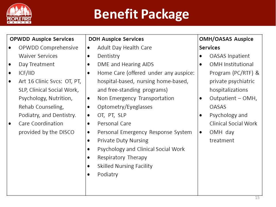 Benefit Package 15 OPWDD Auspice Services  OPWDD Comprehensive Waiver Services  Day Treatment  ICF/IID  Art 16 Clinic Svcs: OT, PT, SLP, Clinical