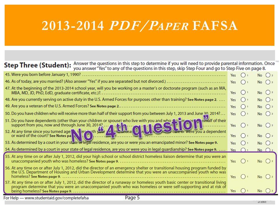 2013-2014 PDF/P APER FAFSA