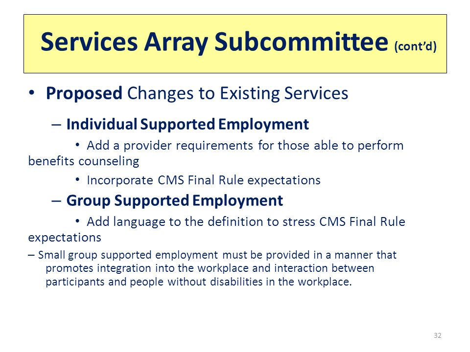 Services Array Subcommittee (cont'd) 32 Proposed Changes to Existing Services – Individual Supported Employment Add a provider requirements for those able to perform benefits counseling Incorporate CMS Final Rule expectations – Group Supported Employment Add language to the definition to stress CMS Final Rule expectations – Small group supported employment must be provided in a manner that promotes integration into the workplace and interaction between participants and people without disabilities in the workplace.