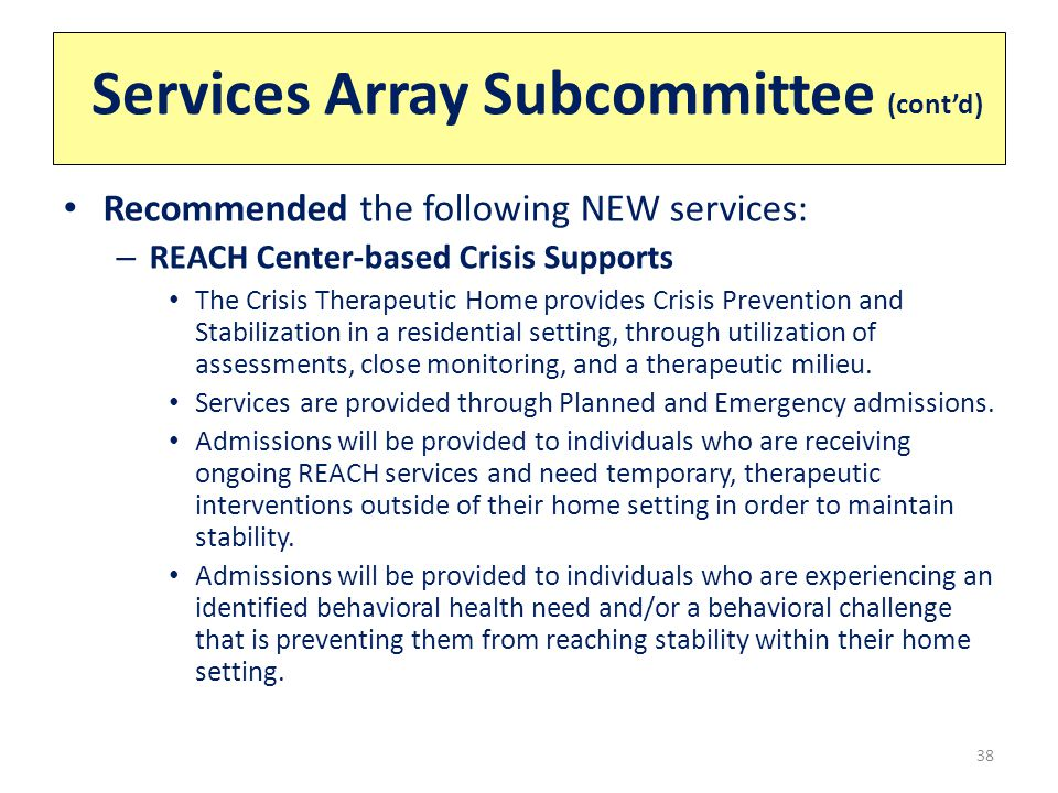 Services Array Subcommittee (cont'd) 38 Recommended the following NEW services: – REACH Center-based Crisis Supports The Crisis Therapeutic Home provides Crisis Prevention and Stabilization in a residential setting, through utilization of assessments, close monitoring, and a therapeutic milieu.
