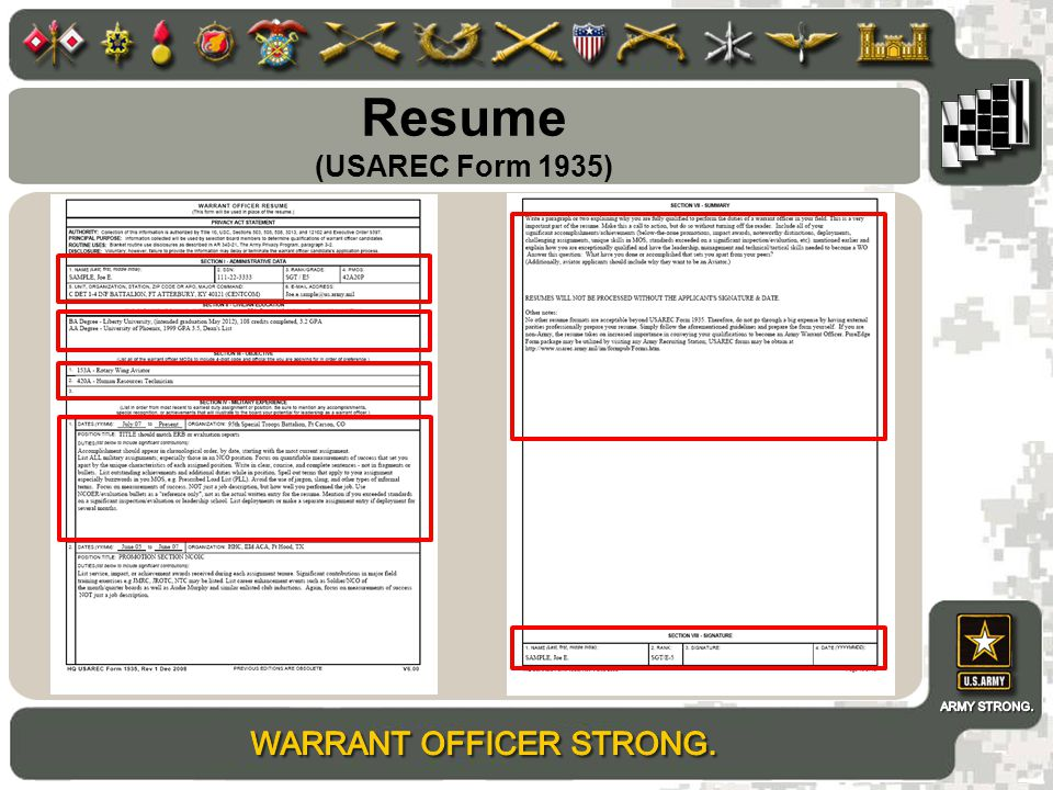Resume (USAREC Form 1935)