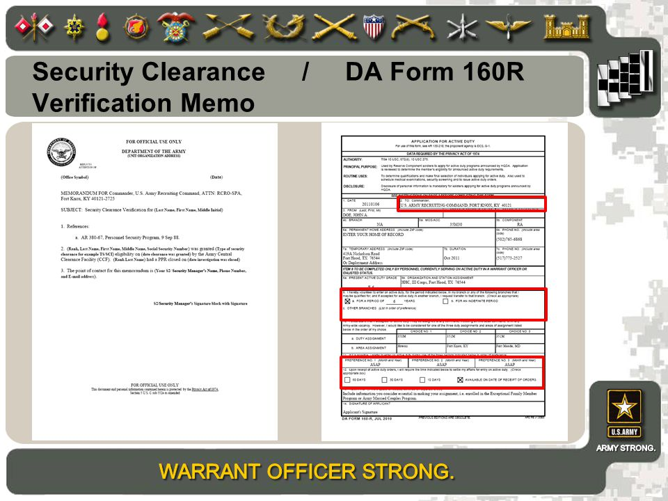 Security Clearance / DA Form 160R Verification Memo