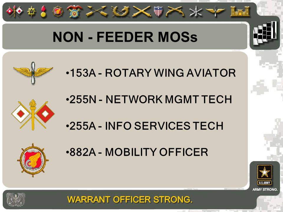 NON - FEEDER MOSs 153A - ROTARY WING AVIATOR 255N - NETWORK MGMT TECH 255A - INFO SERVICES TECH 882A - MOBILITY OFFICER