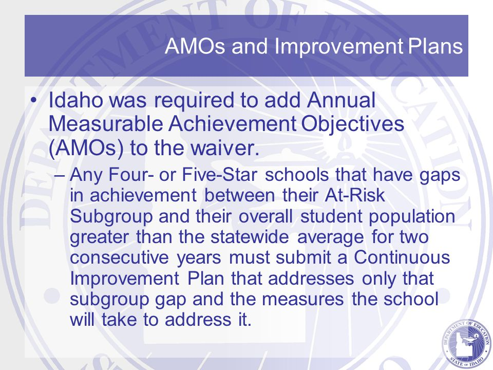 AMOs and Improvement Plans Idaho was required to add Annual Measurable Achievement Objectives (AMOs) to the waiver.