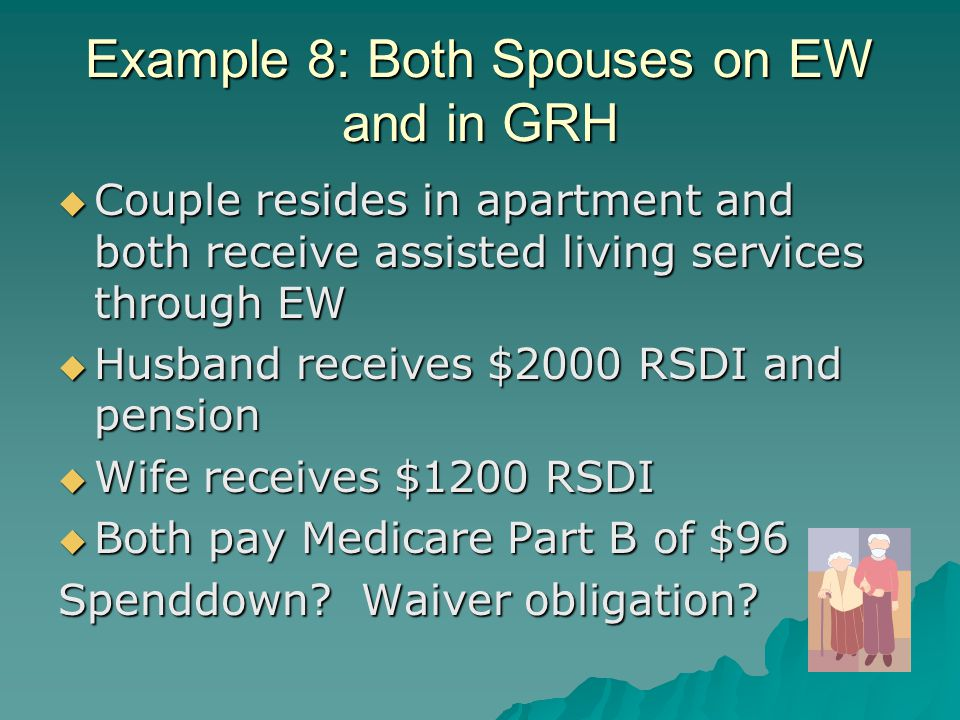 Example 8: Both Spouses on EW and in GRH  Couple resides in apartment and both receive assisted living services through EW  Husband receives $2000 RSDI and pension  Wife receives $1200 RSDI  Both pay Medicare Part B of $96 Spenddown.
