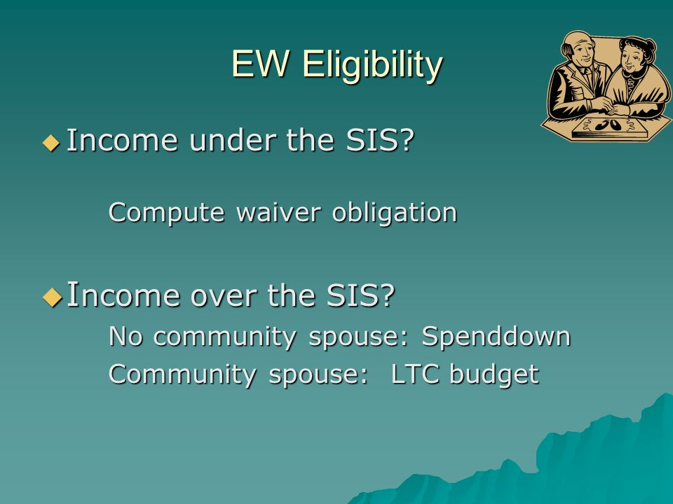 Example 3: SIS-EW  Single client resides in GRH with assisted living  Receives RSDI and pension of $1816  Pays Medicare Part B of $96  Has $15 Part D copays (initial month)  Not eligible for GRH grant Does she have a waiver obligation?